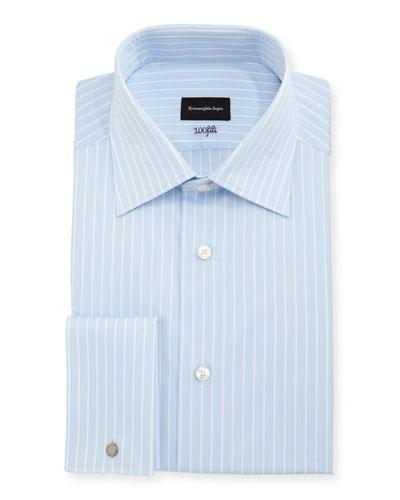 100Fili Striped Cotton Dress Shirt, Blue