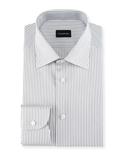 Multi-Stripe Cotton Dress Shirt, Light Gray