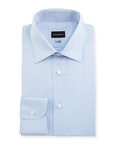 100Fili Solid Dress Shirt, Blue