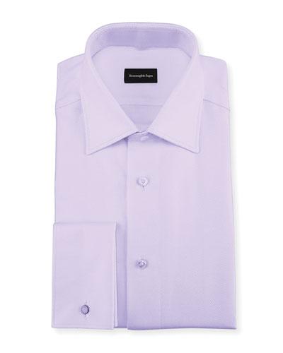 Twill Cotton French-Cuff Dress Shirt, Lavender (Purple)