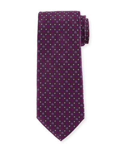 Gancini-Print Silk Tie