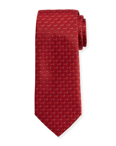 Woven Dog Silk Twill Tie, Red