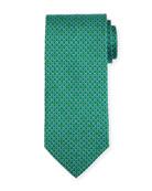 Bicolor Gancio Silk Twill Tie, Green