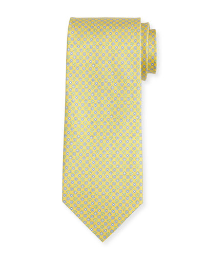 Floral Gancio Silk Twill Tie, Yellow