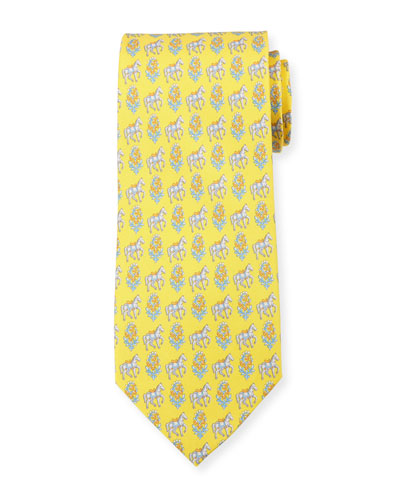Floral Horse Silk Twill Tie, Yellow
