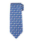 Floral Horse Silk Twill Tie, Blue