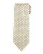 Frog-Print Silk Twill Tie, Yellow
