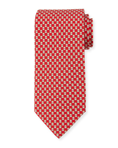 Frog-Print Silk Twill Tie, Red