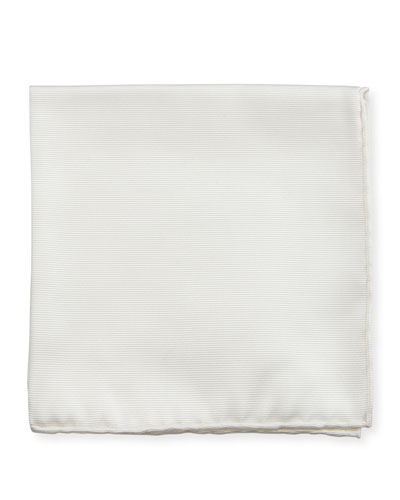 Solid Silk Twill Pocket Square, White