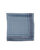 Floral Gancio Silk Twill Pocket Square, Gray