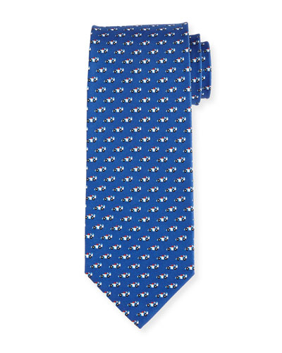 Race Car Silk Tie, Blue