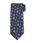 Jungle-Print Silk Twill Tie, Navy
