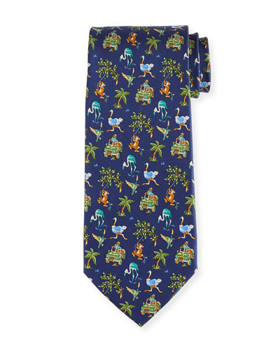 Jungle-Print Silk Twill Tie, Navy
