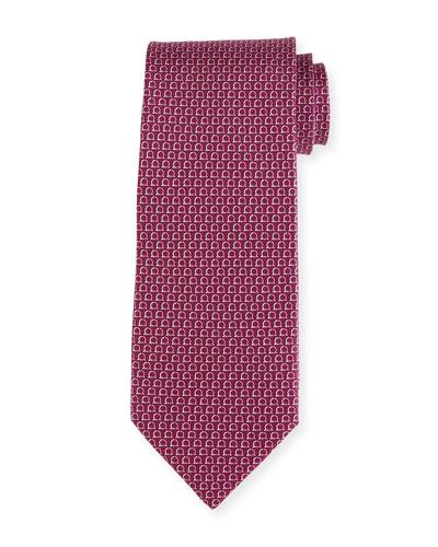 Two-Tone Gancio Silk Tie, Purple