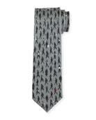 Passerby Logo-Print Silk Twill Tie, Gray
