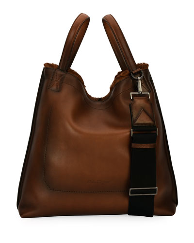 Firenze Glow Runway Men's Leather Tote Bag with Goat Hair Trim, Brown ...