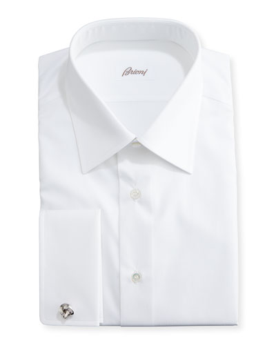 Tonal Micro-Stripe Dress Shirt, White