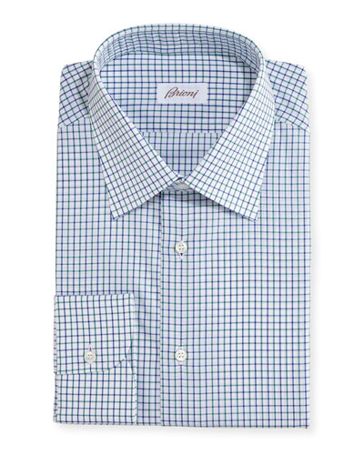Multi-Check Cotton Dress Shirt