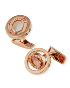 Gyro Mother of Pearl Pink Gold Plated Cufflinks