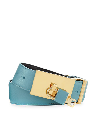 100mm Padlock-Buckle Leather Belt, Oxygen (Blue)