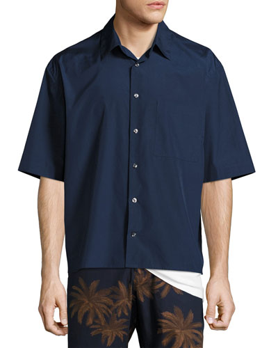 Boxy-Fit Half-Sleeve Shirt, Navy