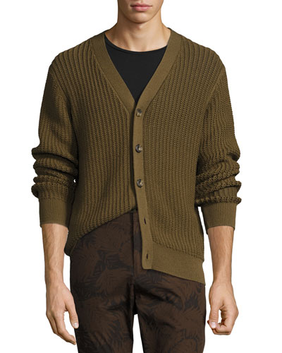 Lattice-Stitch Cotton Cardigan, Brown