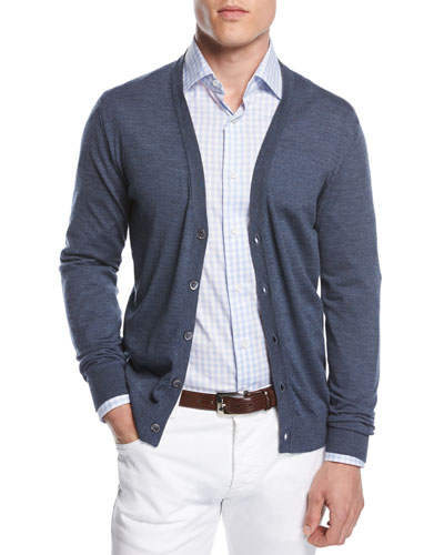 Merino Wool V-Neck Cardigan, Blue