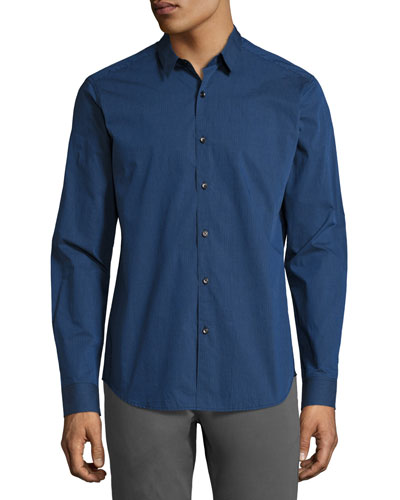 Zack Tonal Pinstripe Sport Shirt, Bright Blue