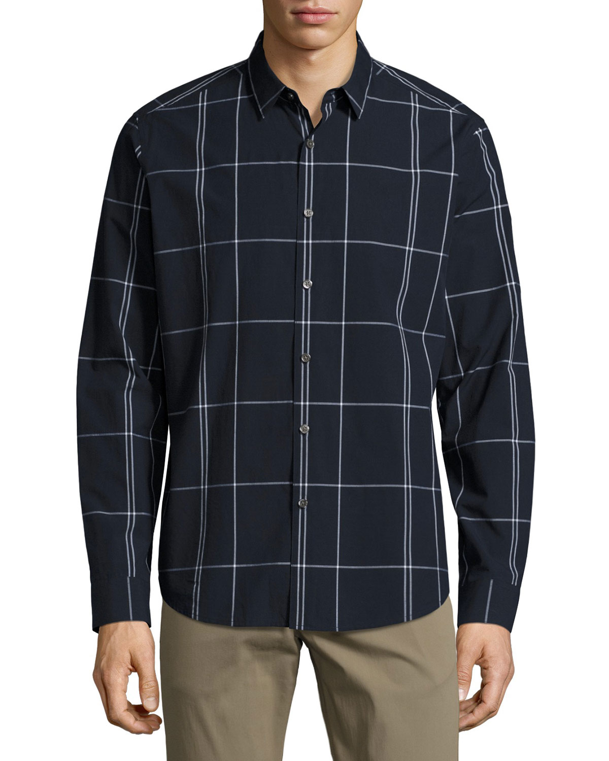Zack Large Grid Sport Shirt, Navy