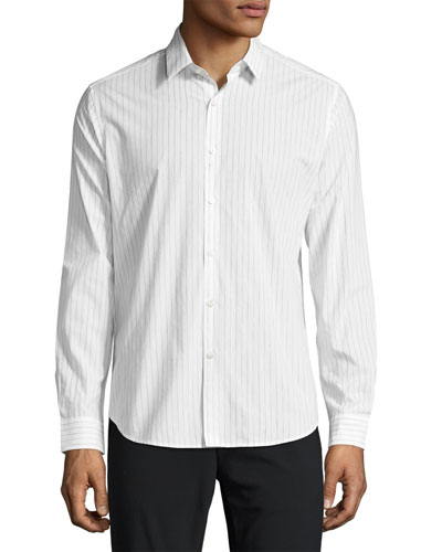 Zack Light Linen Striped Sport Shirt, Blue/White Pattern