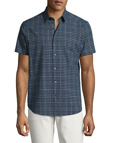 Zack S. Balance Check Short-Sleeve Sport Shirt, Blue