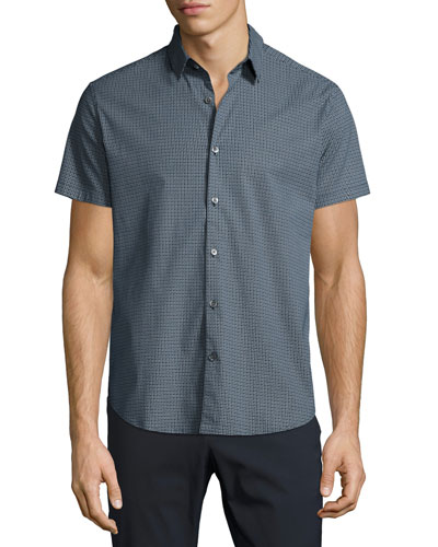 Zack S. Trace Printed Short-Sleeve Sport Shirt, Navy