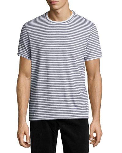 Rylee Pima Cotton Double-Edge Striped T-Shirt, White Multi