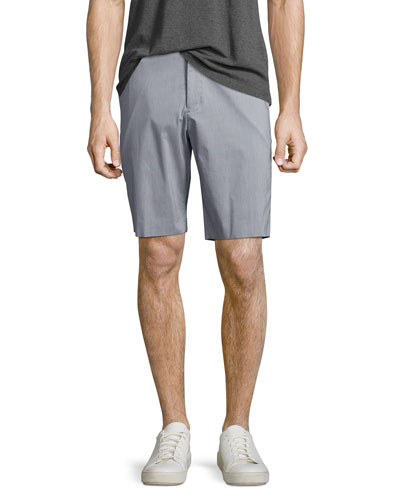 Beck Clean Stripe Trouser Shorts, Light Gray