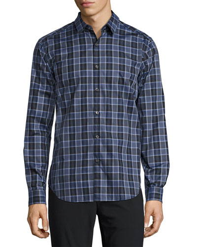 Zack Plaid Domingo Sport Shirt, Blue