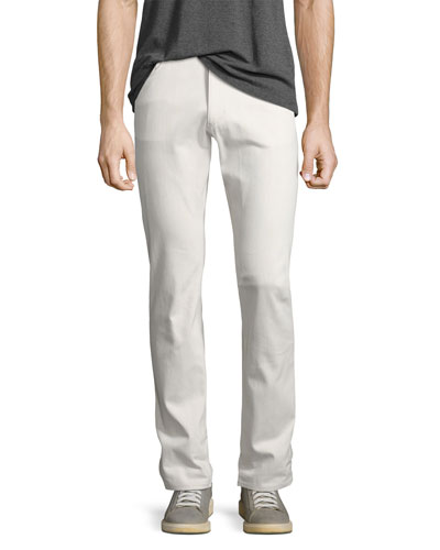 Raffi Plastered Stretch-Denim Slim-Fit Jeans, Off White