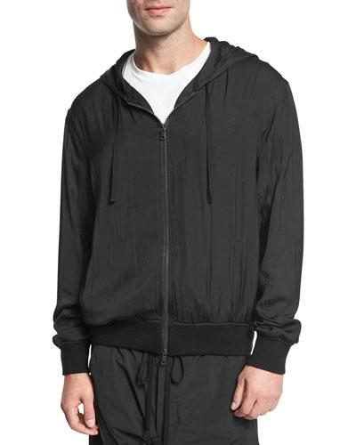 Satin Zip-Front Hoodie, Black