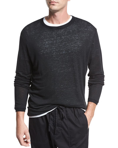 Garment-Dyed Cotton Crewneck Sweater, Black