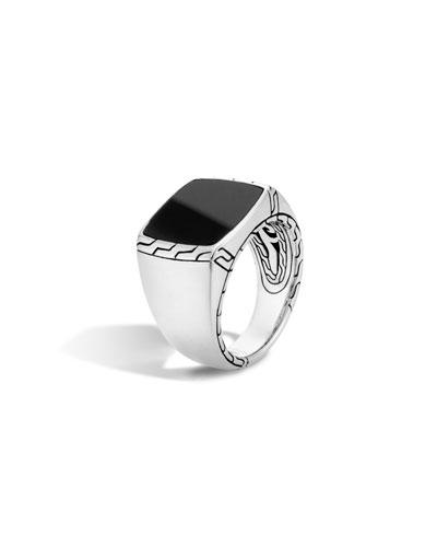 Men's Batu Classic Chain Silver Signet Ring, Size 10