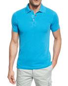 Piqué Snap-Front Polo Shirt, Aqua (Blue)