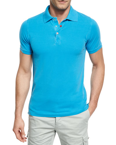 Piqué Snap-Front Polo Shirt, Aqua (Blue)