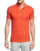 Piqué Snap-Front Polo Shirt, Coral