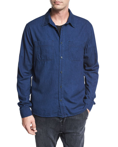Two-Pocket Denim Shirt, Resin Rinse Blue