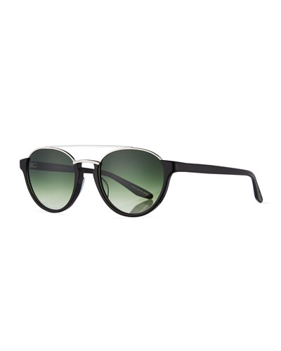 Boleyn Half-Rim Acetate & Titanium Sunglasses, Black/Silver