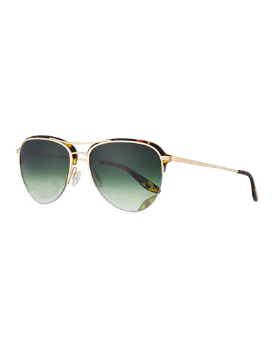 Airman Half-Rim Aviator Sunglasses, Matte Heroine Chic/Gold