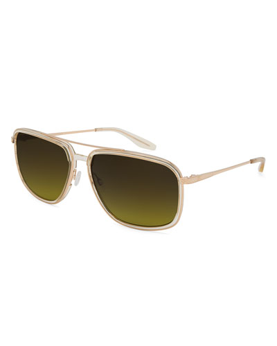 Magnate Acetate & Titanium Rectangular Aviator Polarized Sunglasses, Champagne/Gold