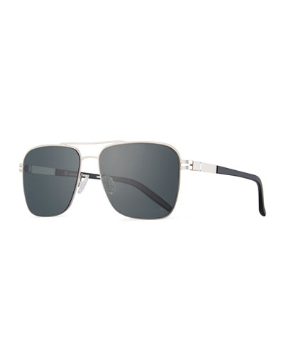 Men's Metal Aviator Sunglasses, Matte Silver/Matte Black/Gray