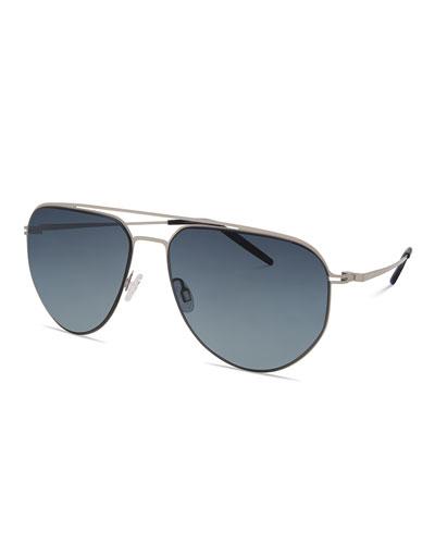 Men's B010 Aviator Sunglasses, Silver/Matte Navy/Night Blue Gradient