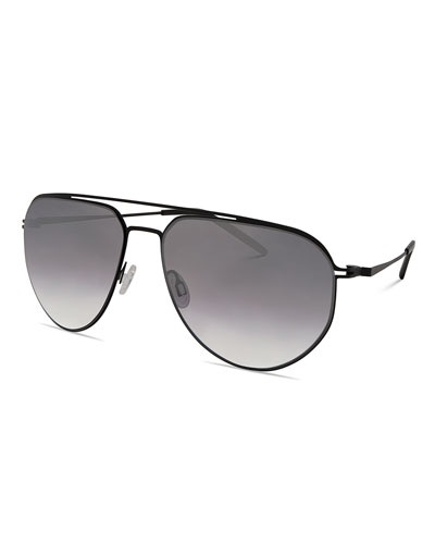 Men's B010 Mirrored Aviator Sunglasses, Matte Black/Silver Gradient