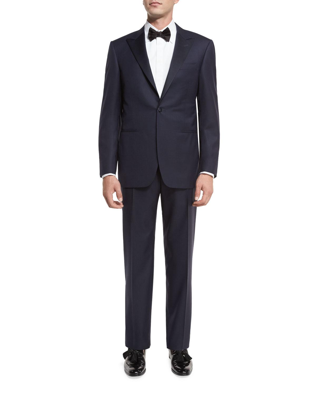 Super 150s Wool Tuxedo Suit, Navy